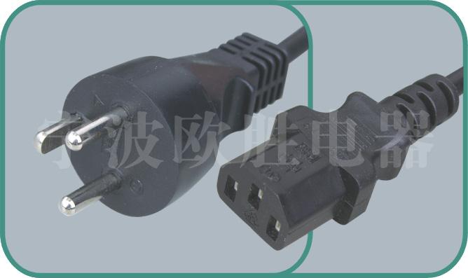Denmark power cord,Y011/ST3 16A/250V