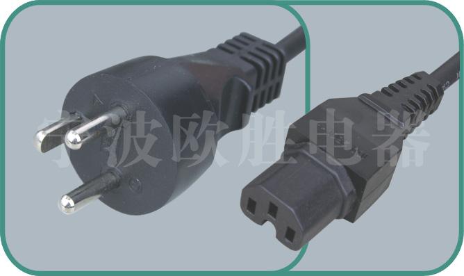 Denmark power cord,Y011/ST3-H 16A/250V