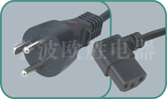 Denmark power cord,Y011/ST3-W 16A/250V,israel power cord,israel adapter plug
