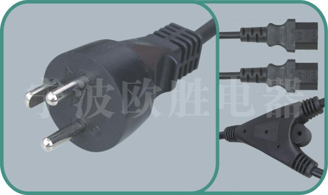 Denmark power cord,Y011/YY-3T 16A/250V