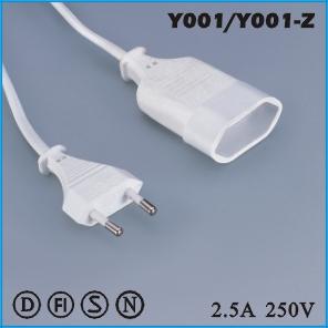 Extension cord,European Extension cord Y001  Y001-Z,ac extension cord,extension cable cord,extension power cord