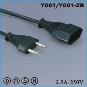 Extension cord,European Extension cord Y001 Y001-ZB,ac extension cord,extension cable cord,extension power cord