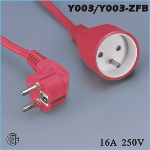 Extension cord,France Extension cord Y003 Y003-ZFB,ac extension cord,extension cable cord,extension power cord