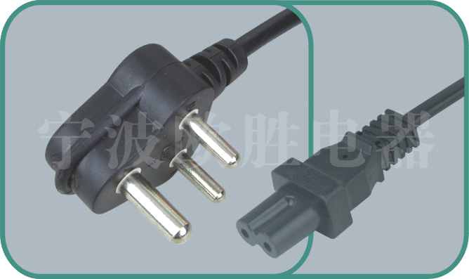 South Africa SABS power cord,C-17/ST2A 6-15A/250V