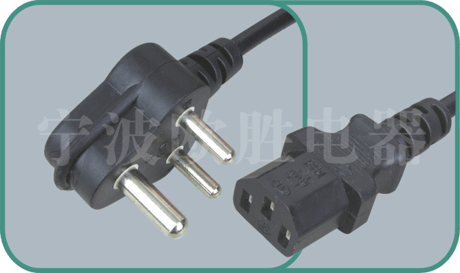 South Africa SABS power cord,C-17/ST3 6-15A/250V
