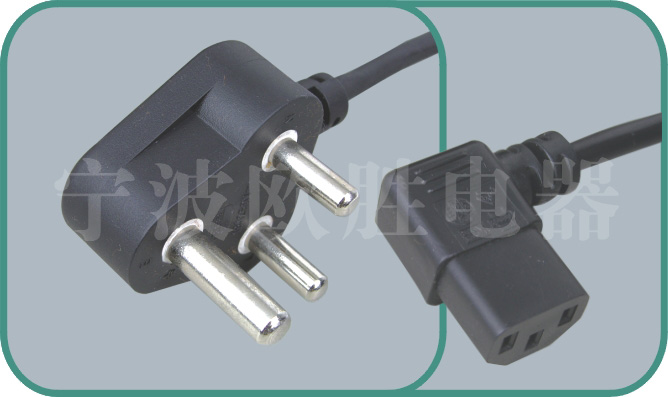 South Africa SABS power cord,N02/ST3-W 15A/250V